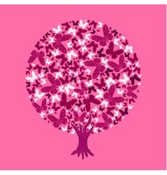 round tree from butterflies vector image vector image