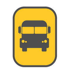 school bus sign yellow map pointer vector image