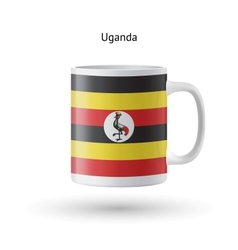 Uganda flag souvenir mug on white background vector