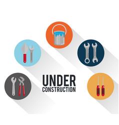 under construction poster tools repair build vector image