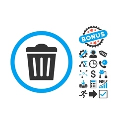 Trash can flat icon with bonus vector