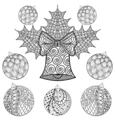 Christmas bell with balls in zentangle style vector