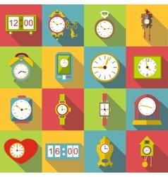 Different clocks icons set flat style vector