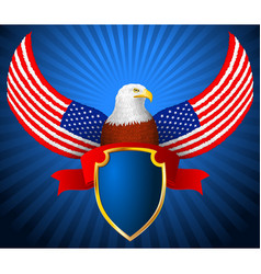 American eagle flag wing shield ribbon vector