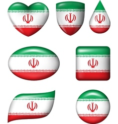 Iran flag in various shape glossy button vector