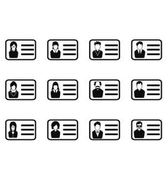 Id card head icon set vector