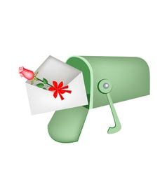 Love letter and red rose in mailbox vector