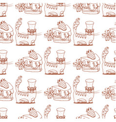 Seamless pattern with cat in a top hat and a vector