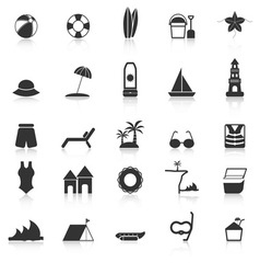 Beach icons with reflect on white background vector
