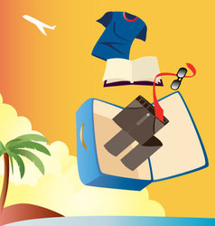 vacation-with-man-suitcase vector image