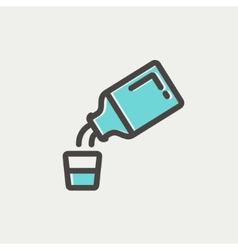 Medicine and measuring cup thin line icon vector