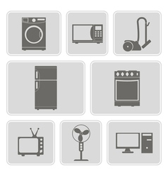 monochrome icons with home technics vector image
