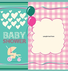 Cute baby shower greeting card vector