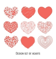 Set of nine stencil hearts for design vector