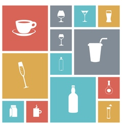 Icons tile drinks vector