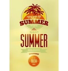 Summer time retro poster typographical design vector