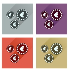 Concept flat icons with long shadow euro coins vector