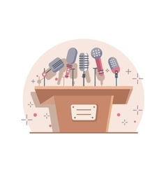 Tribune with microphones vector