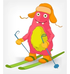 Funny monster skiing vector
