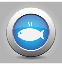 Blue metal button - grilling fish with smoke vector