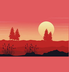 at morning desert with tree scenery vector image vector image