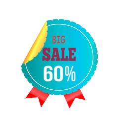 big sale -60 blue label on vector image vector image