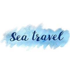 Blue abstract watercolor travel background vector