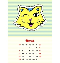 Calendar 2017 with cats march in cartoon 80s-90s vector