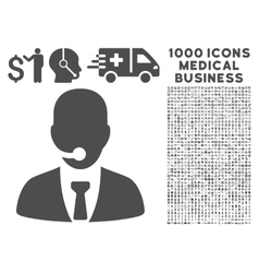 Call center manager icon with 1000 medical vector