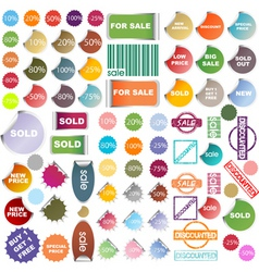 colored promotional stickers and stamps vector image vector image