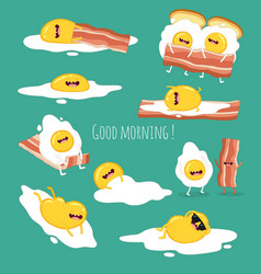 funny breakfast set comic characters vector image