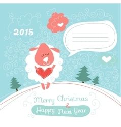 Greeting card with a sheep vector image vector image