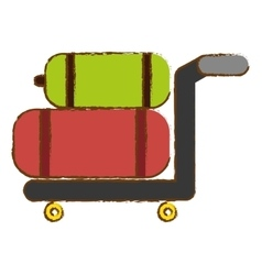 Hand cart with luggage vector