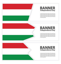 Hungary flag banners collection independence day vector