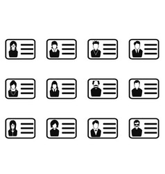 id card head icon set vector image vector image