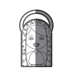 Monochrome silhouette figure virgin maria cartoon vector