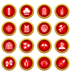 Paintball icon red circle set vector