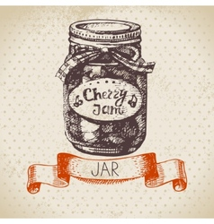 Rustic canning jar with cherry jam vector