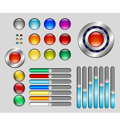 Set of colorful buttons and sliders vector image