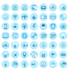 set of smart house technology icons modern home vector image