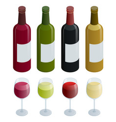 set of white rose and red wine bottles and glas vector image