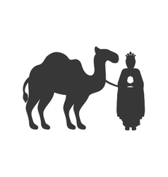 silhouette wise man with camel icon flat vector image vector image