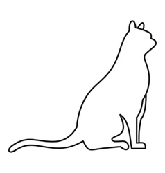Sitting cat icon outline style vector