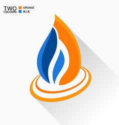 Symbol fire dark blue and orange flame glass icon vector