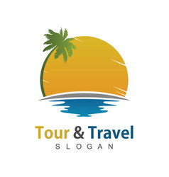 travel beach logo vector image