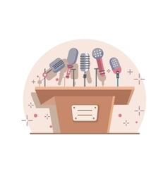 Tribune with microphones vector image