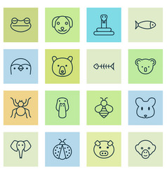 Zoo icons set collection of marsupial grizzly vector