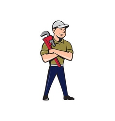Plumber arms crossed standing cartoon vector