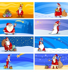 Cartoon Greeting Cards with Santa Claus vector image