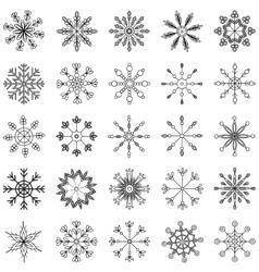 Snowflake set black and white vector image